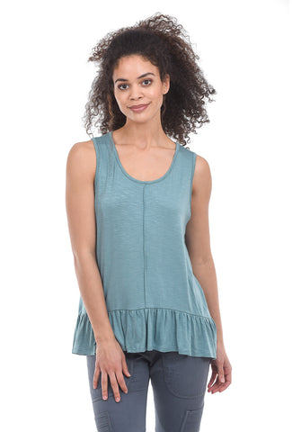 Sinuous Ruffle-Trim Tank, Dusty Jade