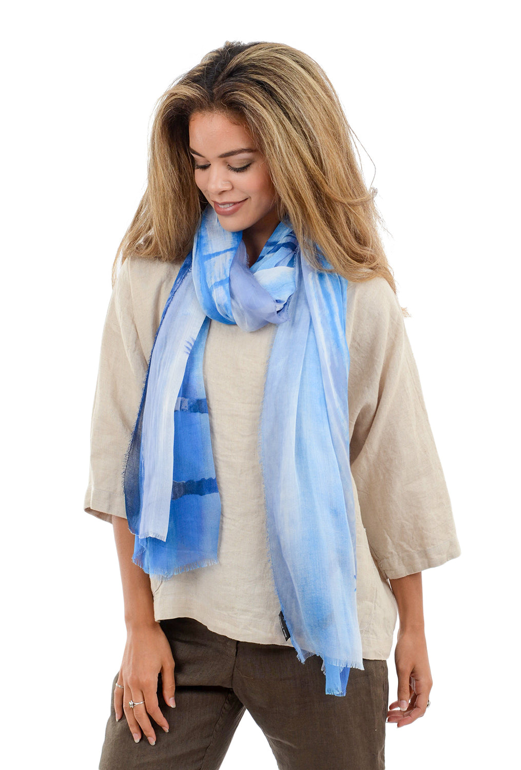 Blue Pacific Travel Scarf, Coconut Beach Blue