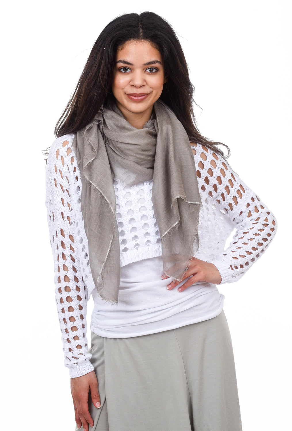 Blue Pacific Cashmere Glitter Scarf, Desert Taupe One Size Taupe
