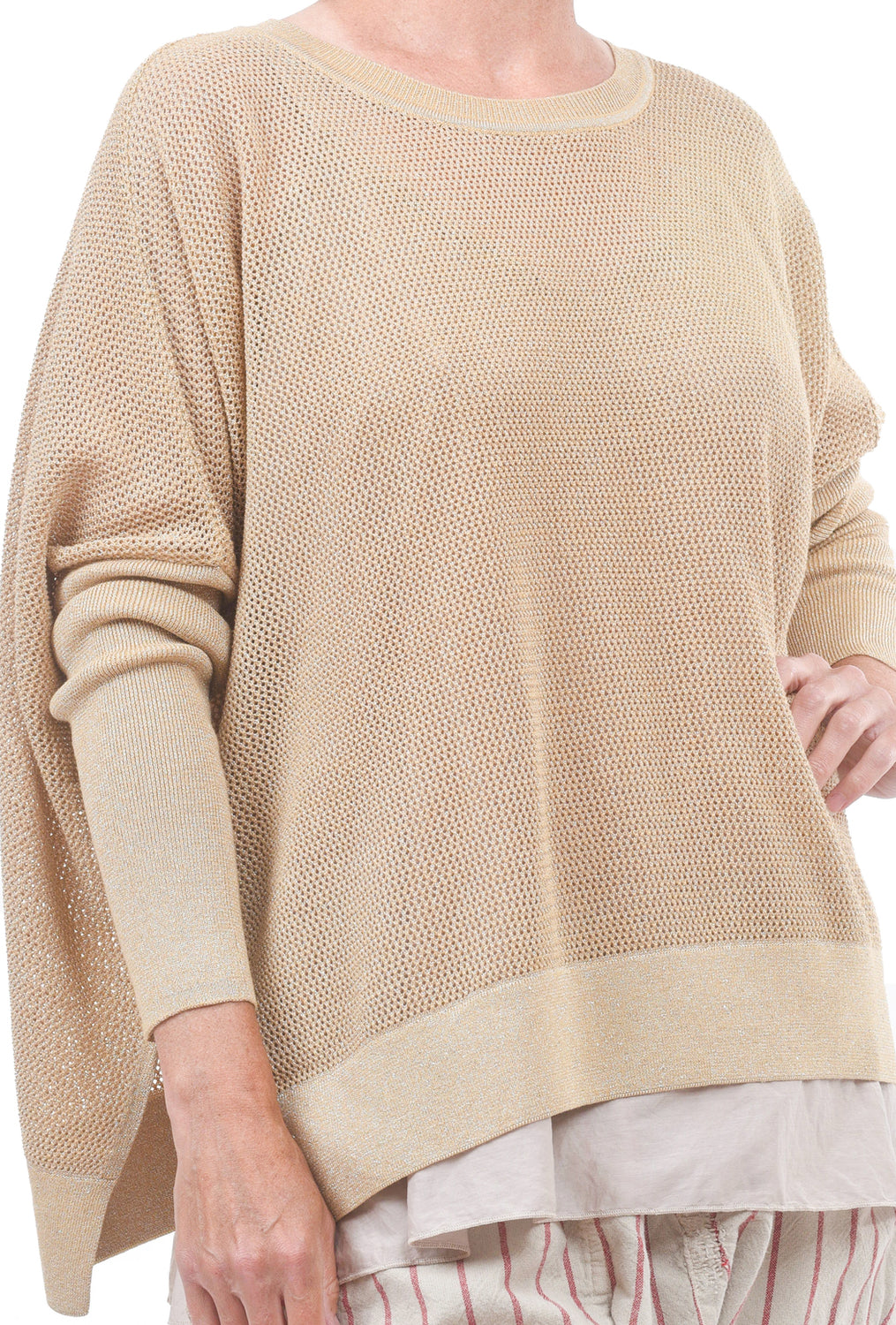 Planet Metallic Seed Stitch Sweater, Peanut One Size Peanut