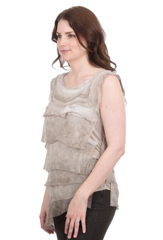 Oro Bonito Tattered Silk Tiers Top, Taupe One Size Beige