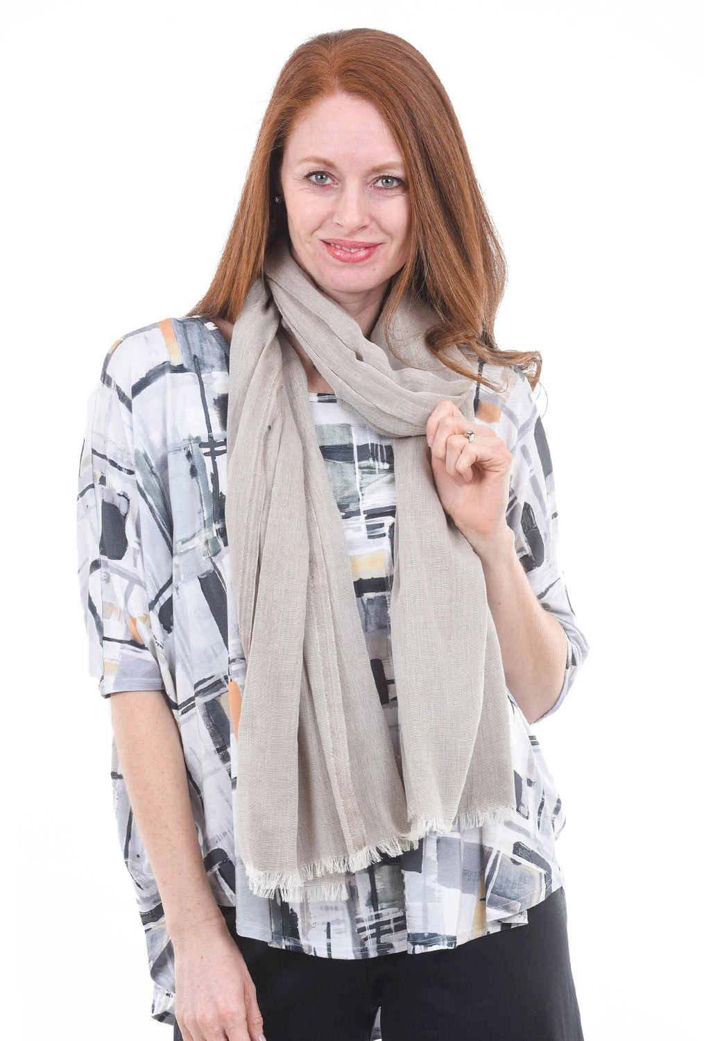 Blue Pacific Turkish Cotton Scarf, Taupe