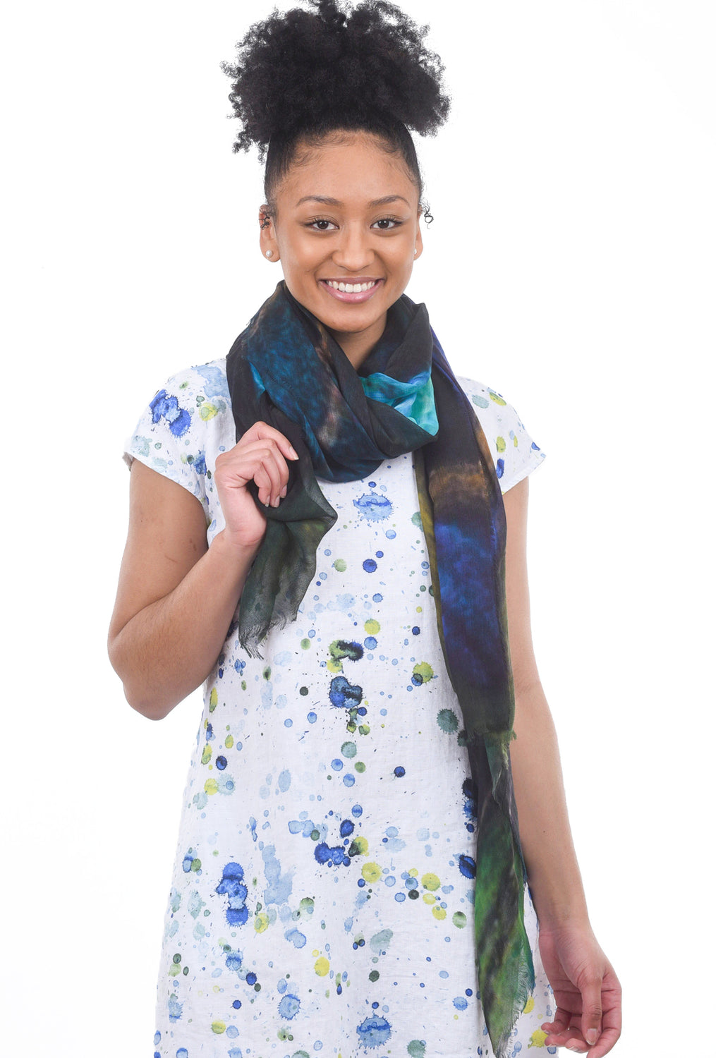 Blue Pacific Hummingbird Scarf, Navy