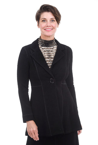 Eva Varro Pebbled Empire One-Button Jacket, Black