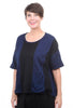 Moyuru Wool Crinkle Blocks Sweater, Black/Blue