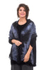 Christa Louise Winter Feathers Wrap, Black/Blue One Size Black