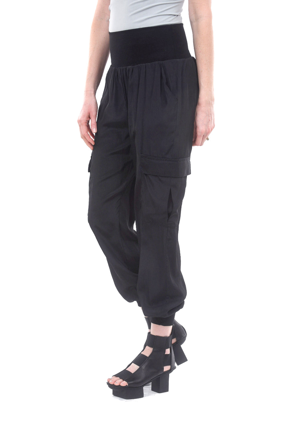 Planet Silky Cargo Pants, Black