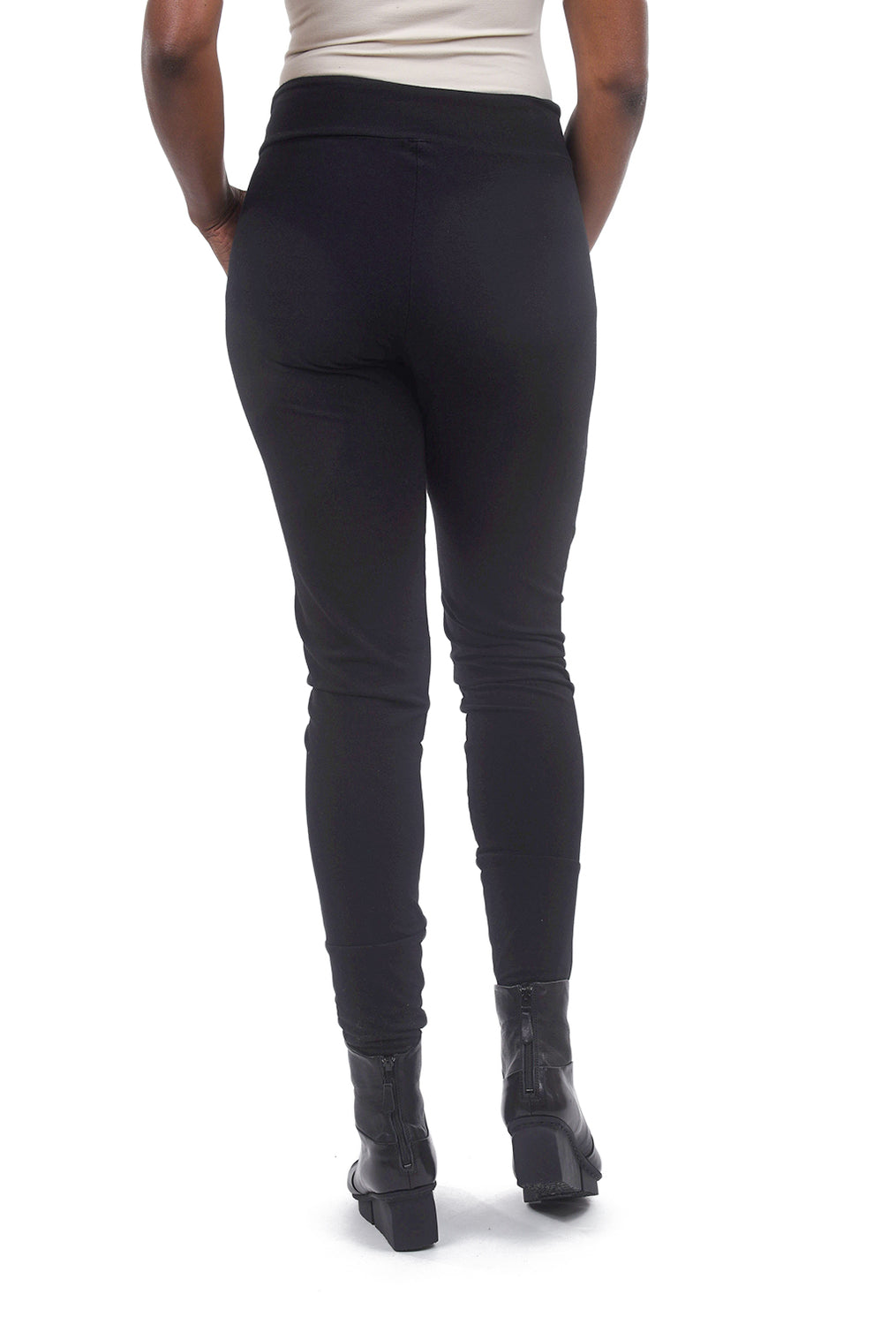 Cynthia Ashby Knit Cuff Leggings, Black