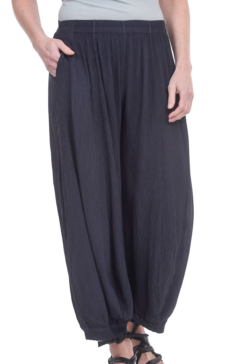 Grizas Silk-Viscose Crinkle Pants, Charcoal