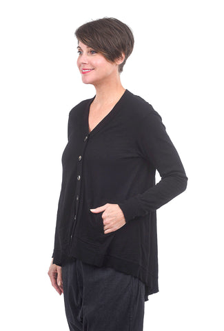 Wilt Backslant Rib Mix Cardie, Black