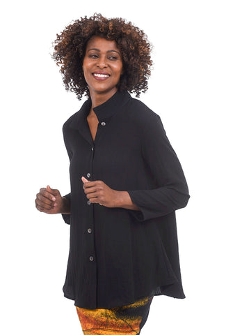 Christopher Calvin Crepe Mandarin Shirt Jacket, Black