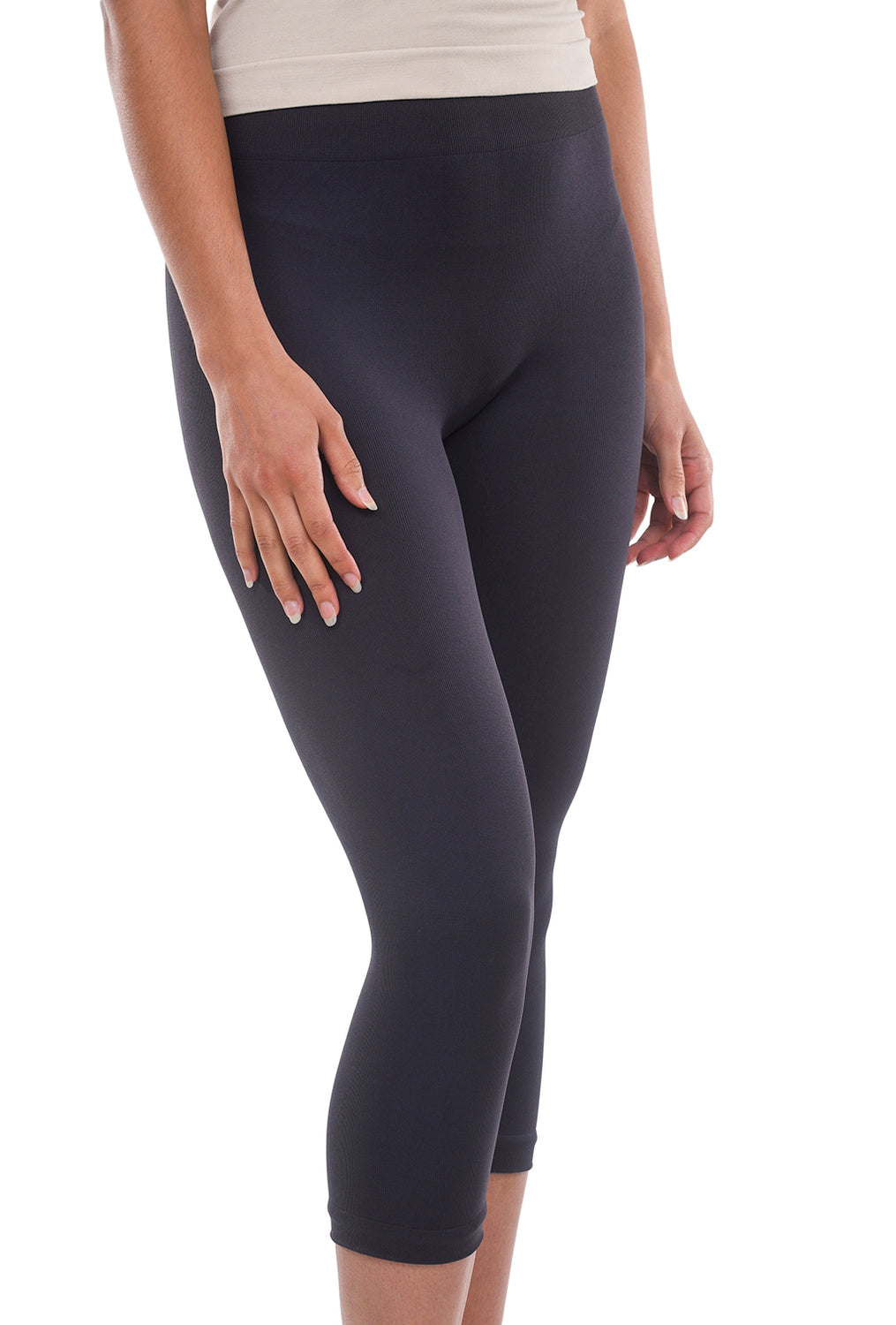Tees by Tina MicroRib Capri Leggings, Storm Gray One Size Storm Gray