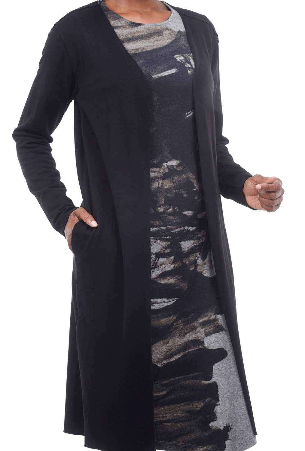 Cut Loose MicroModal Long Cardie, Black