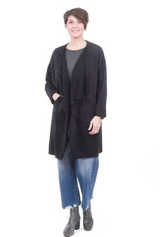 Oro Bonito Drape Lapel Pocket Cardie, Black One Size Black