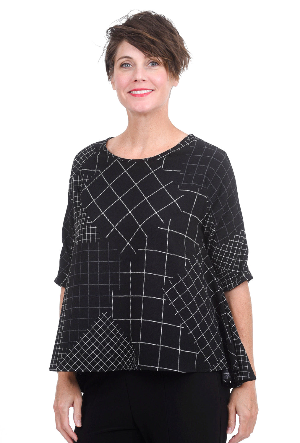 Moonlight A-Line Diamond Check Blouse, Black