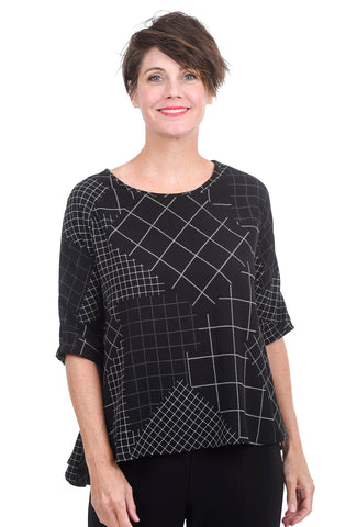 A-Line Diamond Check Blouse, Black