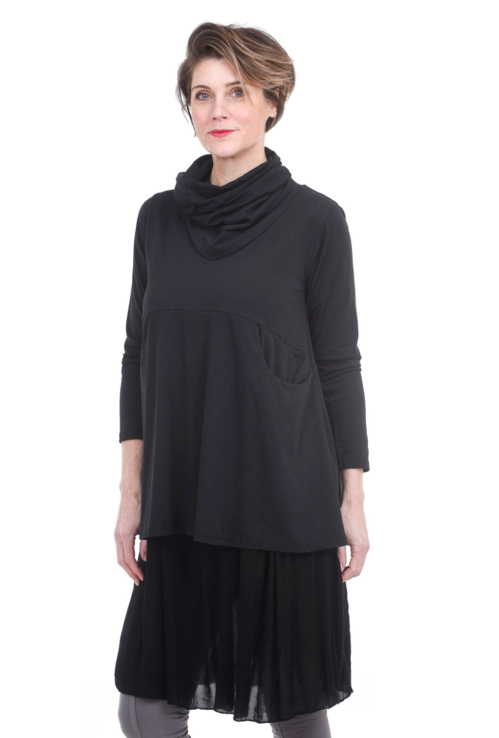 Oro Bonito Double-Layer Cowl Dress, Black One Size Black