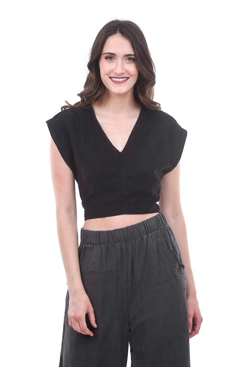 Prairie Underground Affect Wrap Top, Black