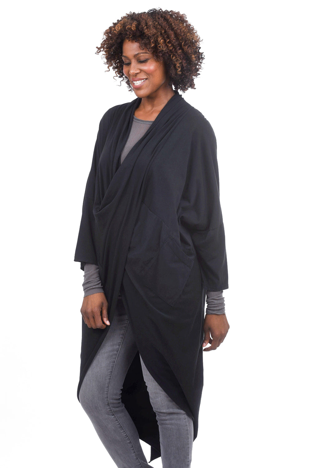 Oro Bonito Drape Front Topper, Black One Size Black