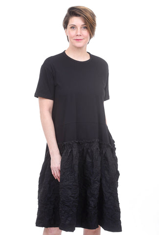 Amma Crinkle Drop-Waist Dress, Black