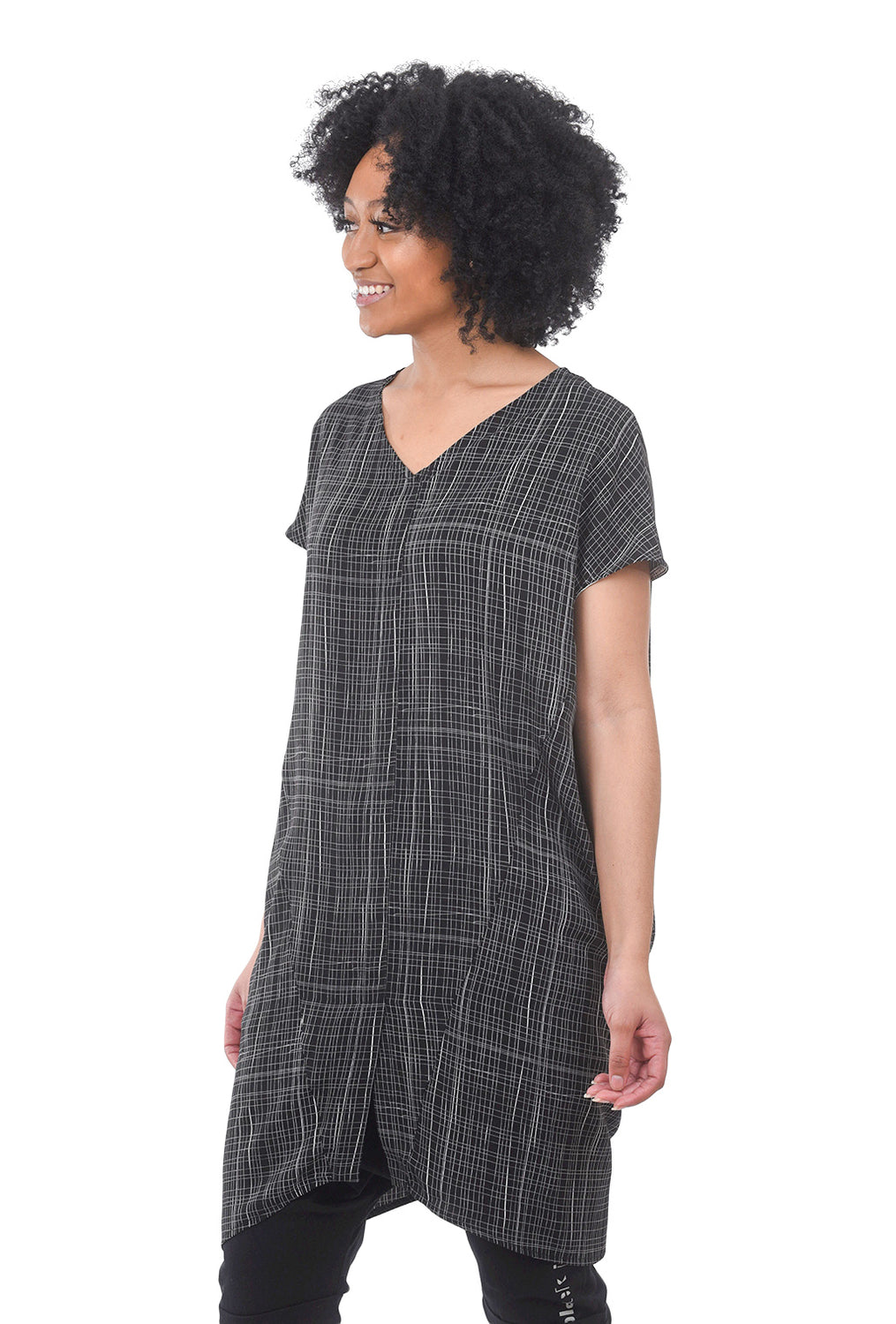 Niche Graph Paper Sage Dress, Black Multi