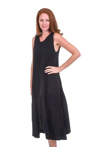 Oro Bonito Linen Details Tank Dress, Black One Size Black