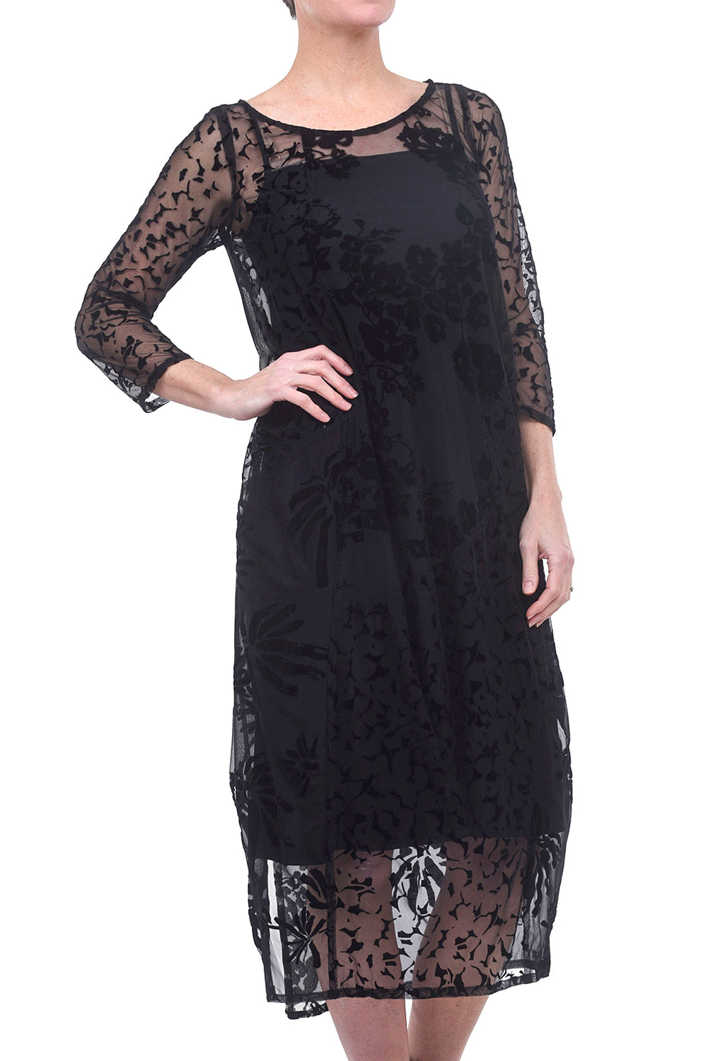 Alembika Semi-Sheer Floral Dress, Black