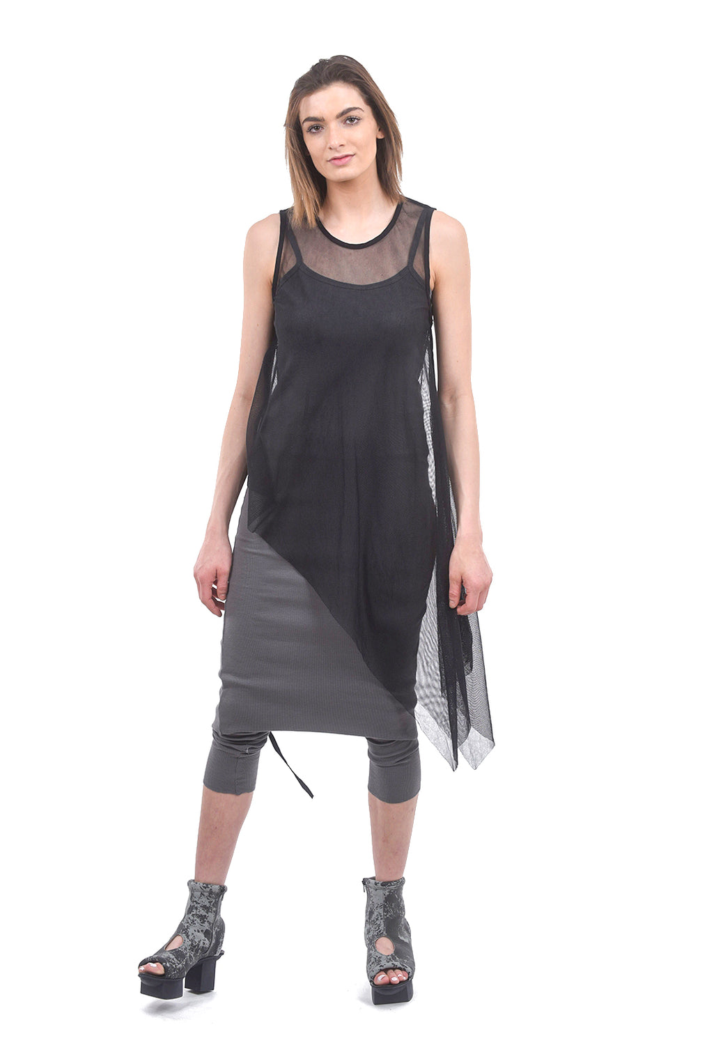 Studio B3 Saya Mesh Layer Tunic, Black