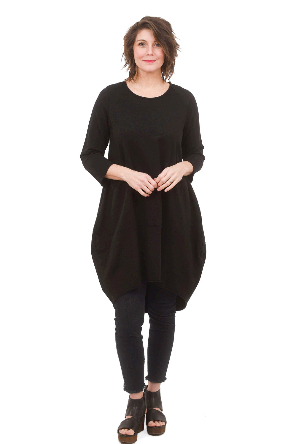 M Made in Italy Classic Knit Lantern Dress, Black