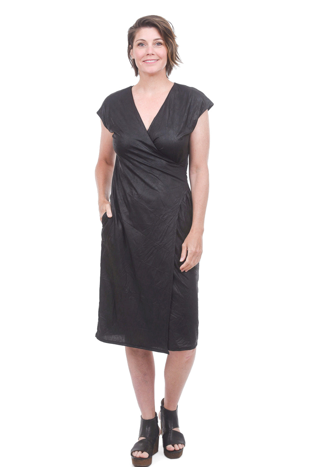 T/9 Metallic Wrap Dress, Black