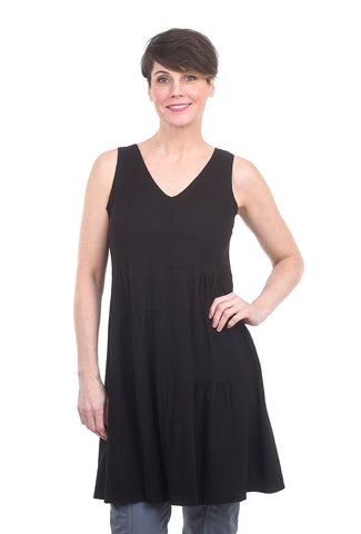 Cut Loose Slub Cotton Patch Dress, Black