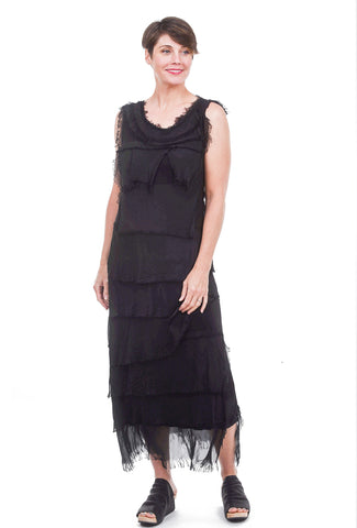 Tattered Tiers Long Dress, Black