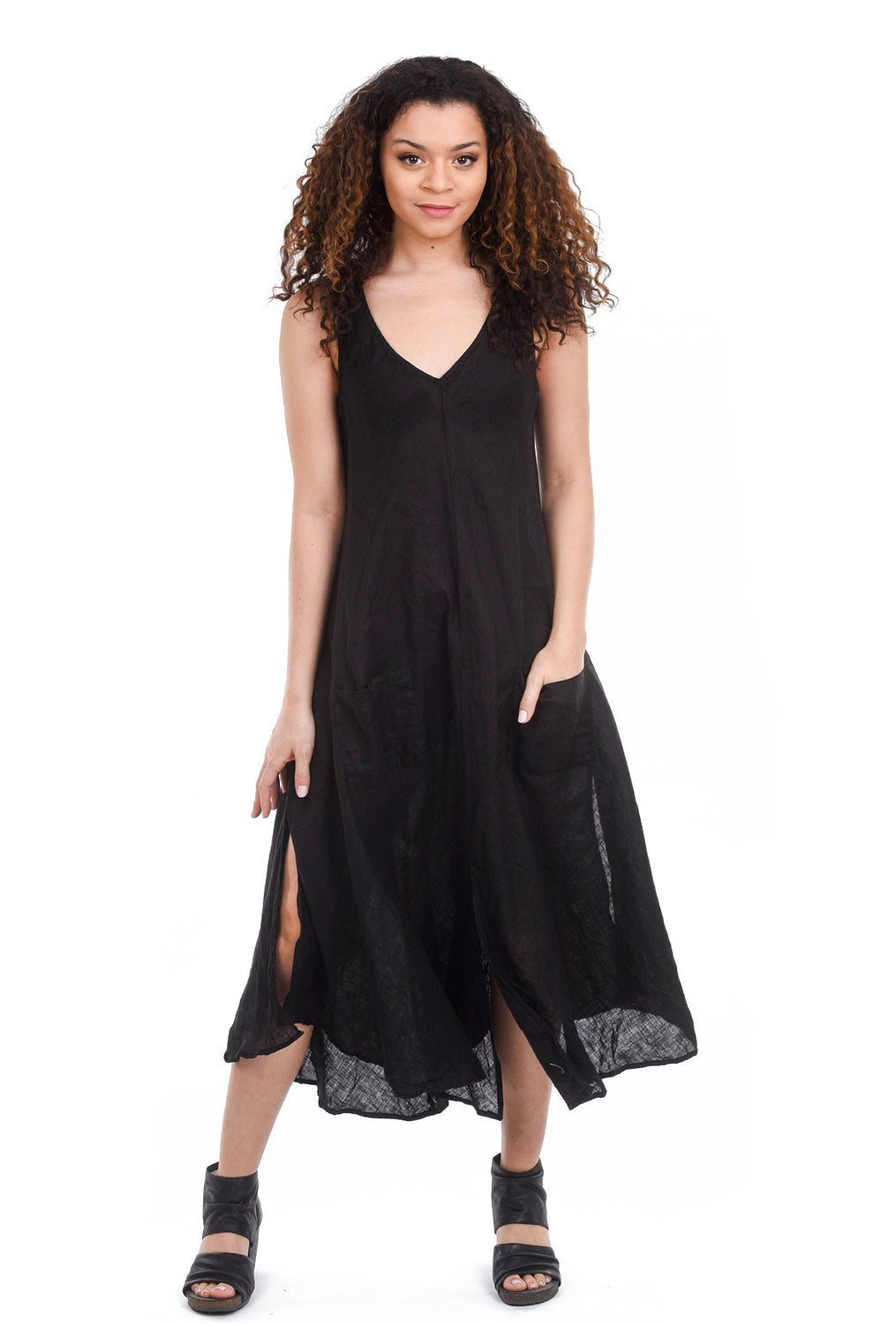 CP Shades Linen Cove Dress, Black