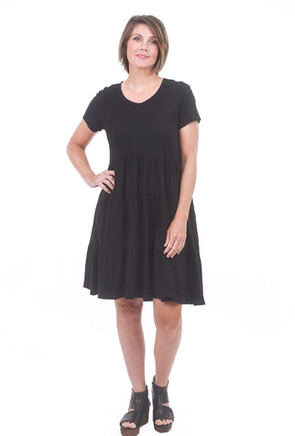 Wilt S/S Tiered Trapeze Dress, Black