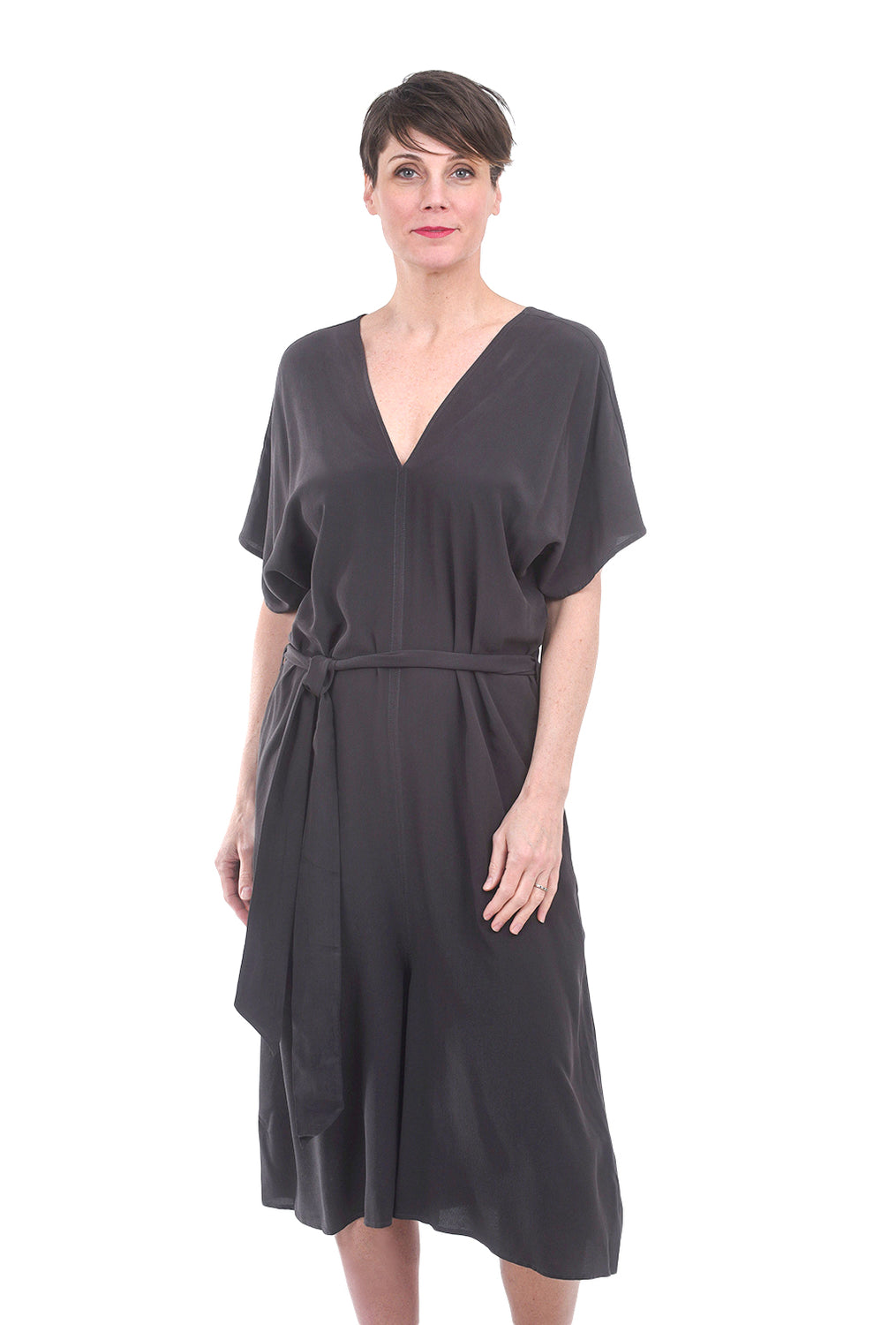 Filosofia Morgan Silk Jumpsuit, Washed Black