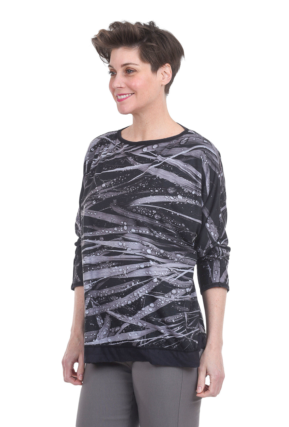 Cynthia Ashby Grass Graphic Top, Black