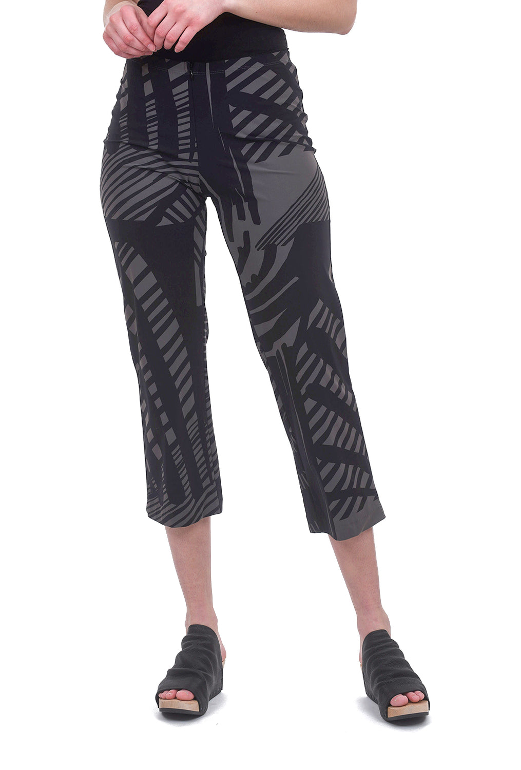 Porto Cropped Traveler Pants, Latte Prism Print