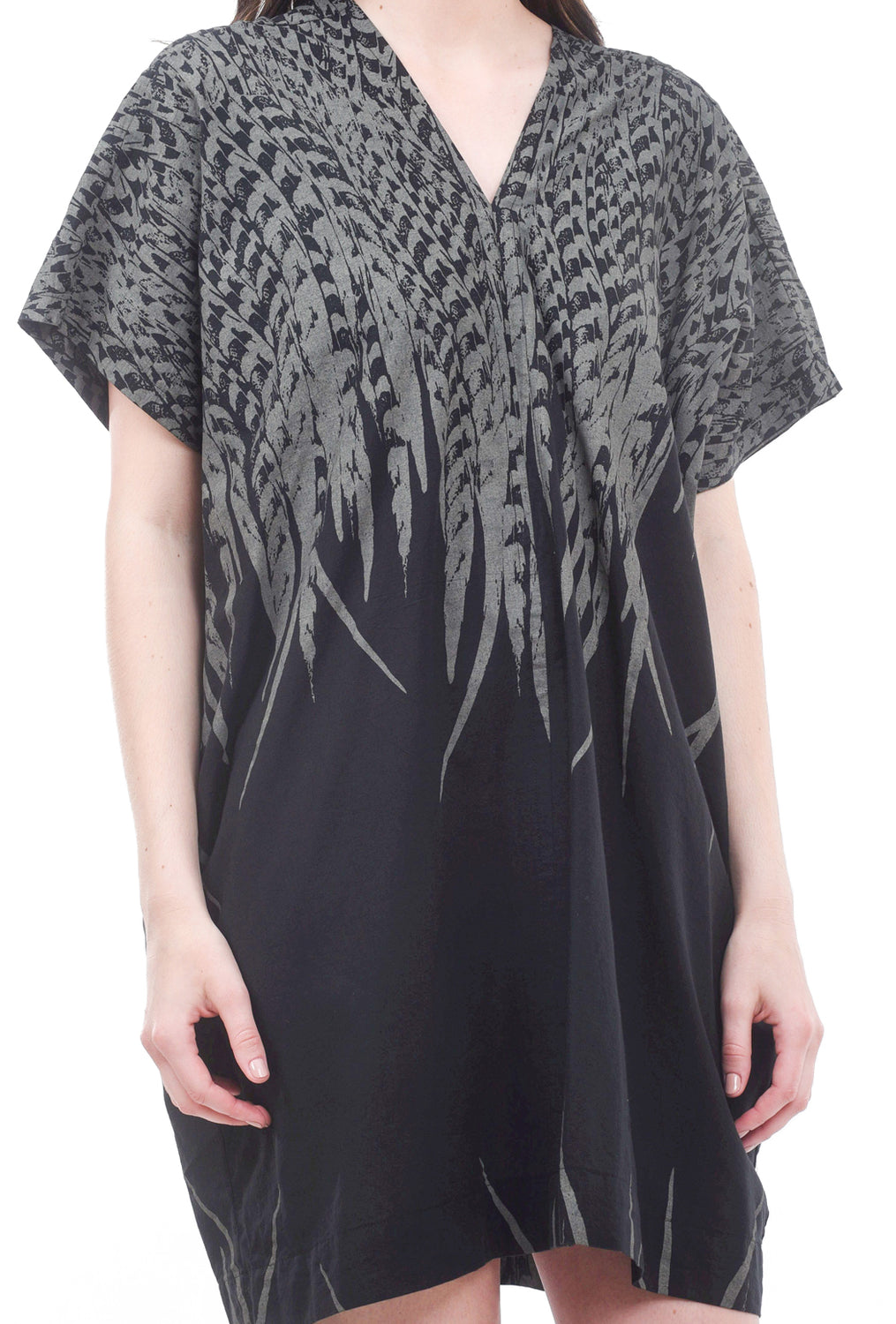 Uzi NYC Uzi V Dress, Black Feather