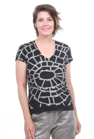 T/9 Graphic Print T-Shirt, Black/Silver