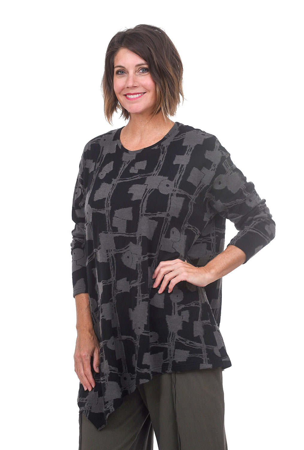 M & Kyoko Circuit Texture Sweater, Black/Gray One Size Black