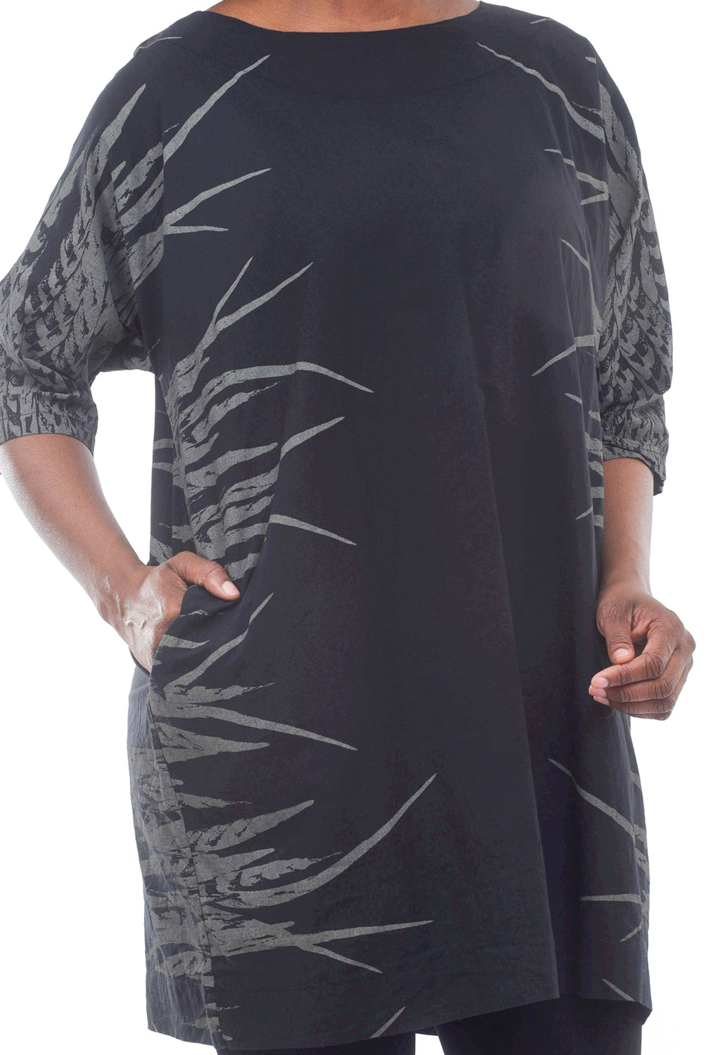 Uzi NYC Print Now Dress, Feather Black