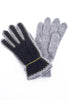 Santacana Madrid Nubuck/Angora Knit Gloves, Gray/Black One Size Gray