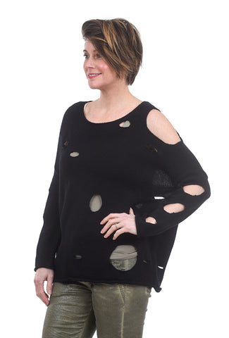 Planet Swiss Cheese Knit Sweater, Black One Size Black