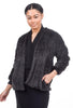 Mystree Snakeskin-Lined Plush Jacket, Charcoal