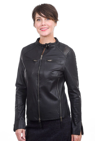 Jackett Vanessa Washed Leather Jacket, Black