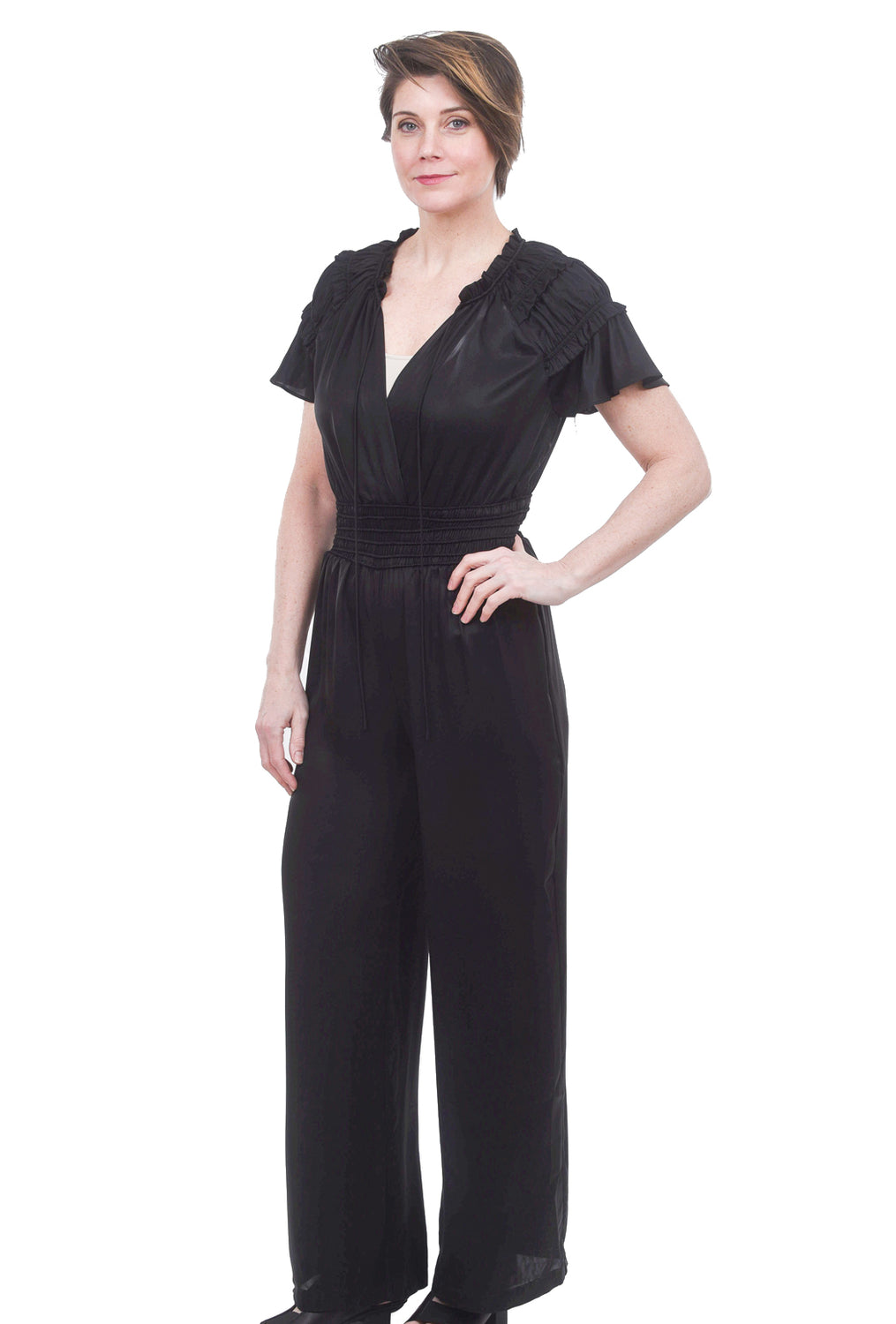 Current Air Smocked Waist Jumpsuit, Black