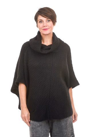 Wooden Ships Honeycomb Poncho, Black