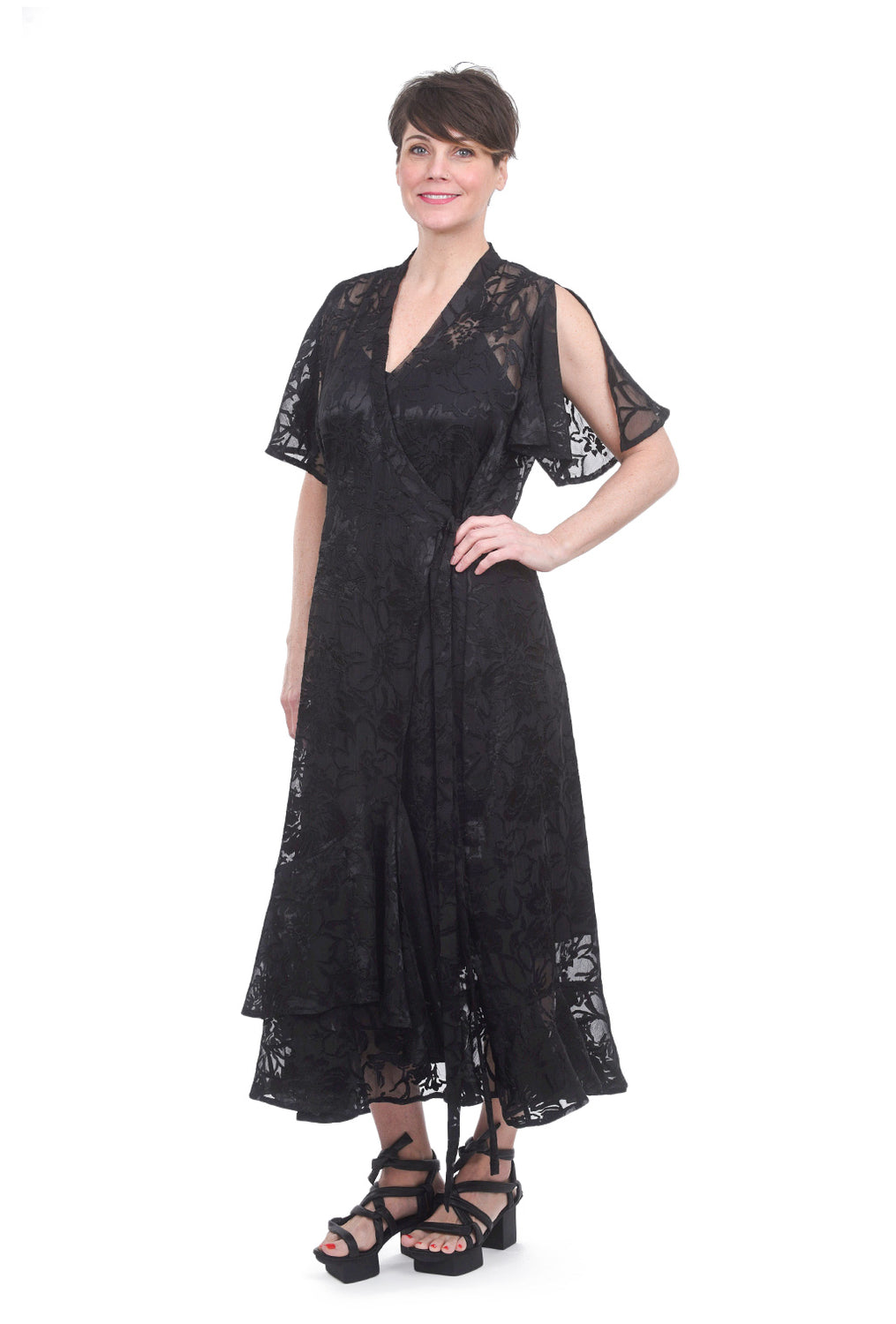 Alembika Burnout Wrap Dress, Black