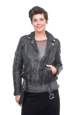 Mauritius Classic Leather Moto Jacket, Green