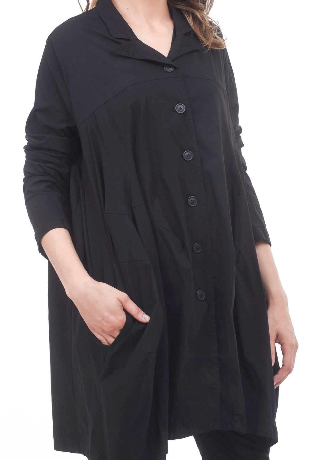 Rundholz Black Label Stretch Twill Yoked Coat, Black